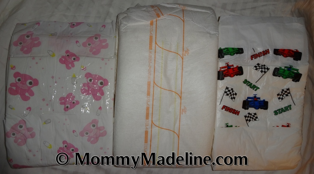 ASC Pink and Abri-Form and UnderCareWear Race Car diapers