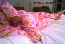 Sissy Baby Benita wearing Tweety Bird� footed pajamas!