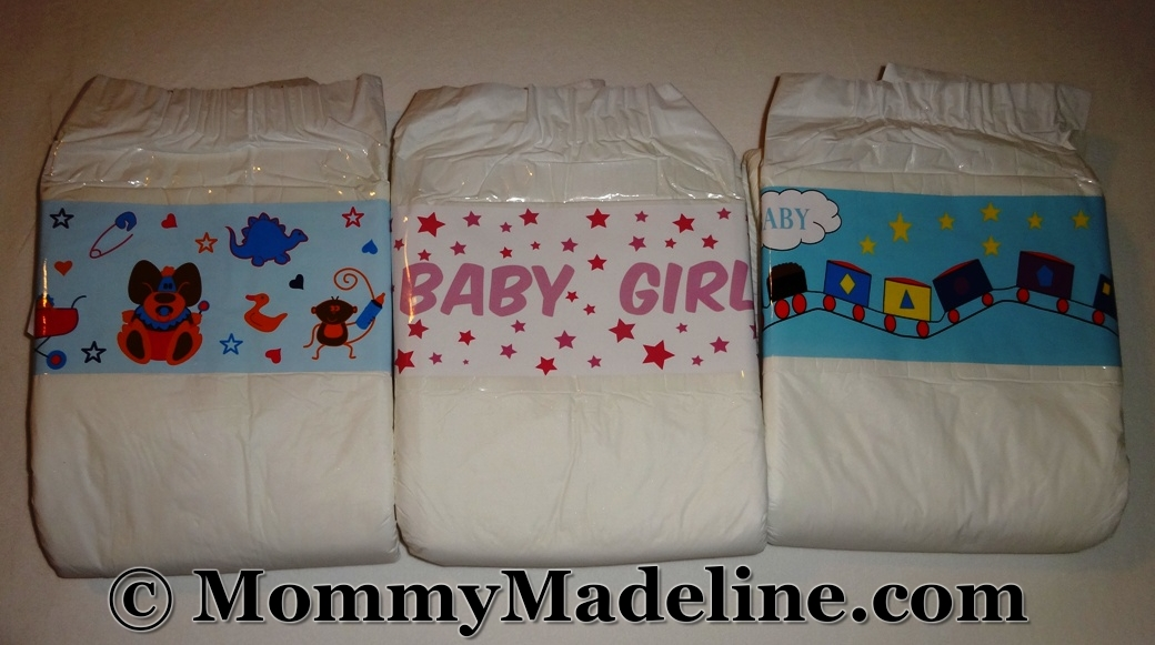A few diapers decorated with custom diaper tapes