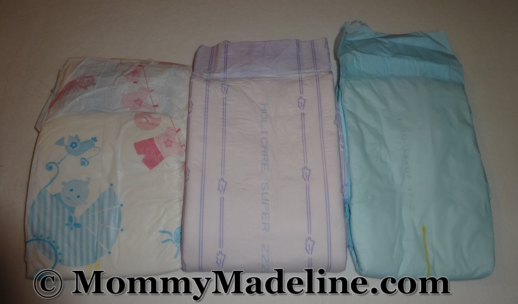 A Molicare and a government issue diaper side by side with a My Diaper
