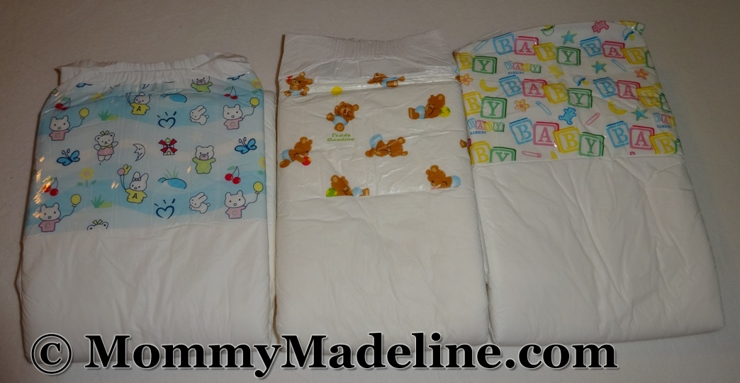 Three styles of Bambino diapers