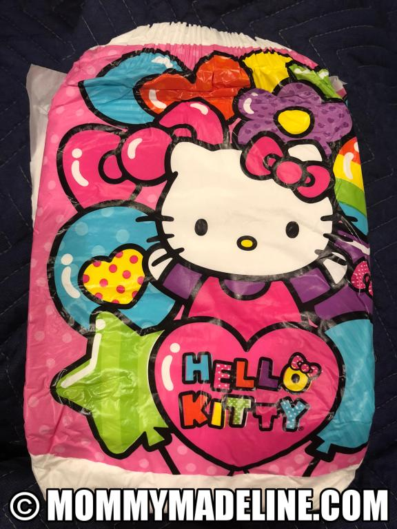 Hello Kitty appears on this diaper